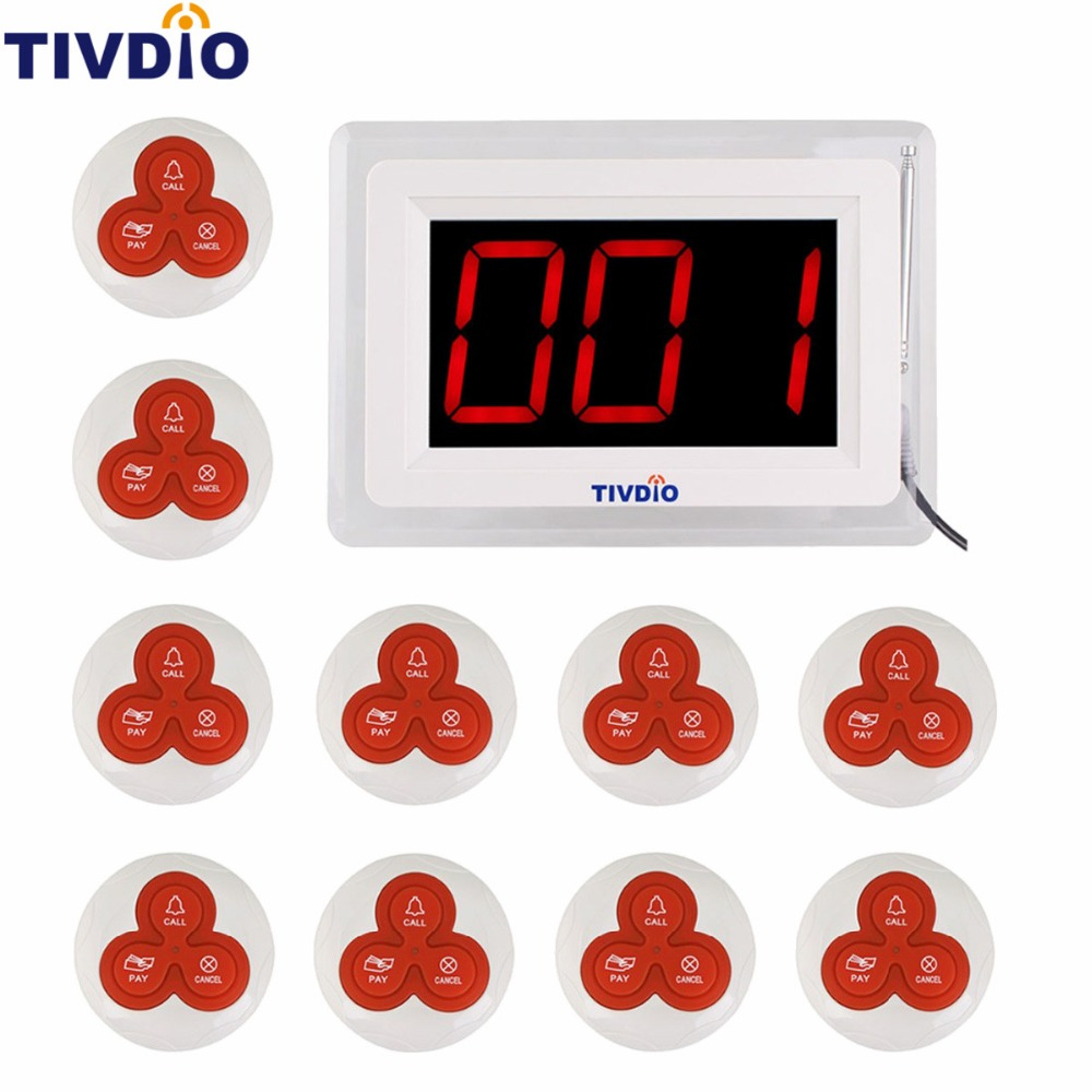 TIVDIO Wireless Pager Coaster Restaurant Call Paging System 1 Host Display+10 Table Bell Button Pager Restaurant Equipment F9405 wireless bell button for table service and pager display receiver showing call number for simple queue wireless call system