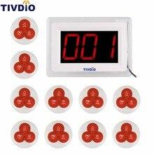 TIVDIO Беспроводной Пейджер Coaster Ресторан Вызов Подкачки Системы 1 Дисплея Хост + 10 Таблица Белл Кнопку Пейджер Ресторанного Оборудования F9405