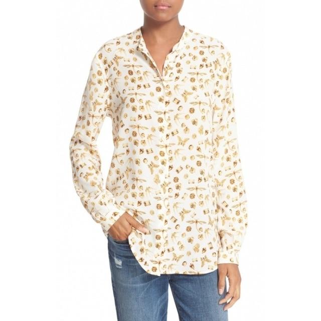 5df7ea442d1 Newest EQ 100% silk jewel bee print women long sleeve shirt lady equipment  silk blouses spring autumn