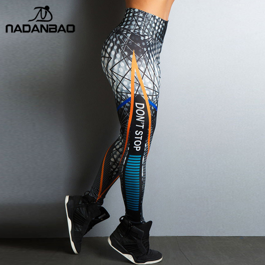 NADANBAO Do Not Stop Workout Women   Leggings   Sporting High Waist   Legging   Digital Printed Work Out Pants Clothings