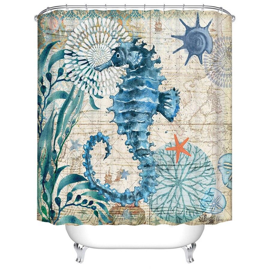 Tartaruga de mar Octopus Seahorse Impresso Eco Tecido de Poliéster Cortina de Chuveiro À Prova D' Água Para Casa de Banho Banheira Decor