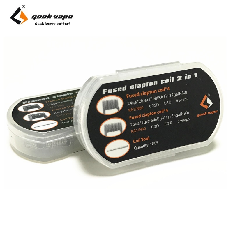 Original 8pcs GeekVape DIY Coil Fused Clapton Coil / Framed Staple Coil 2  In 1 Electronic Cigarette RDA RTA RDTA Atomizer DIY-in Electronic Cigarette  ...