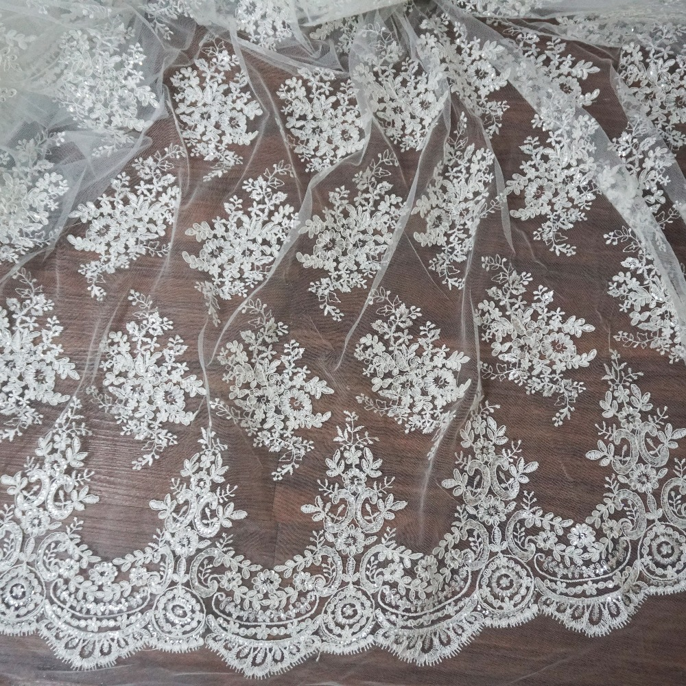 2016 New wedding lace fabric with sequins shiny tulle lace embroidered scallop high end bridal gown