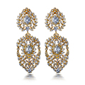 2017 Pendientes Mujer Orecchini Real Plated Exaggeration Earrings Aaa Cubic Zirconia 69mm Long Big Drop Allergy Free Lead Free