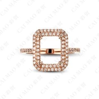Emerald Cut Diamond Settings   CaiMao Emerald Cut Semi Mount Ring Settings & 0.34ct Diamond 14k Rose Gold Gemstone Engagement Ring Fine Jewelry