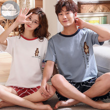 Summer New Knitted Cotton Women #8217 s Pajama Set Couple Cartoon Nightwear Sets Men #8217 s Pajama Sets Lovers Sleepwear M-3XL Home Fashion cheap Pajamas Polyester striped Short Round Neck Shorts CLOUDS EXPRESSION 35 Cotton 808M pijama mujer pijama Female pajamas women