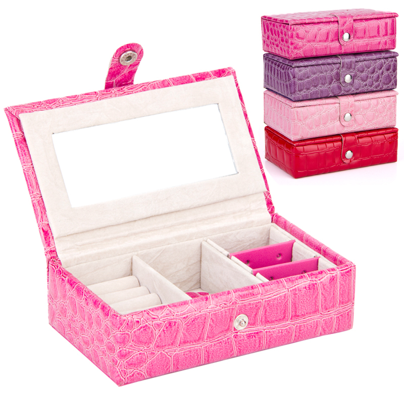 Vintage Crocodile Leather Jewelry Box Three Layer Rings Organizer Storage 4 Colors Cases jewellery packaging