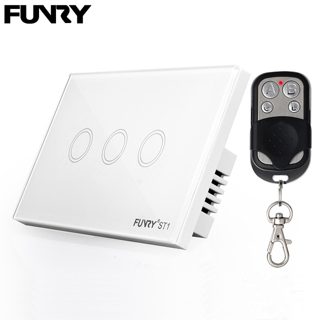 FUNRY ST1 US/AU Standard 3 gang 1 way remote control switch RF 433 wall touch light switch crystal glass panel automation module 3 gang 2 way us au standard smart touch switch crystal glass panel wall light controler