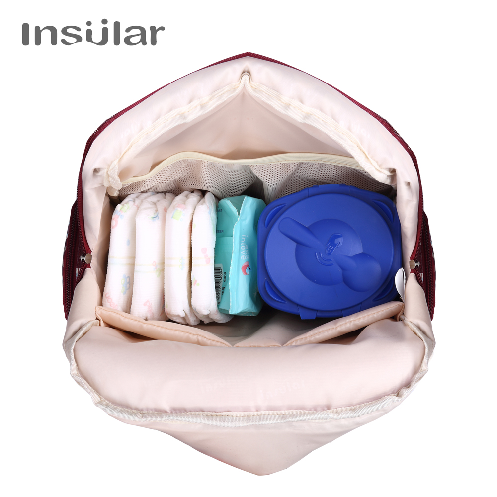 Insular Brand Diaper Bag Insulated Mummy Maternity Travel Backpack Nappy Bag Dot Style Multifunctional Baby Stroller Backpack in Diaper Bags from Mother Kids