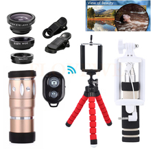 Big sale 12in1 Phone Camera lens Kit Telescope 10X Zoom Telephoto Lenses+Tripod Clips+Fisheye Wide Angle Macro Lens For Cell Phone