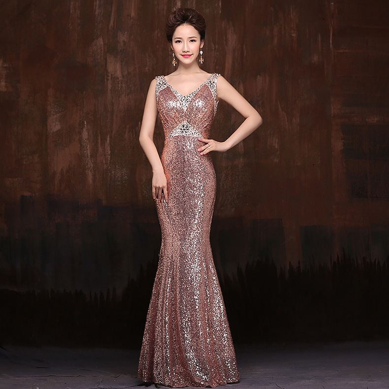 Bling Sequin Plus Size Mermaid Elegant Long maxi Dresses 2015 Formal Party Evening vestido de festa longo - greatdealshere store
