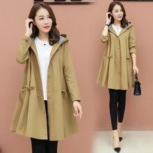 Gabardina con capucha de gran tamaño para mujer abrigo coreano de primavera Otoño de talla grande largo para mujer abrigo suelto para mujer cazadora 3XL AA667