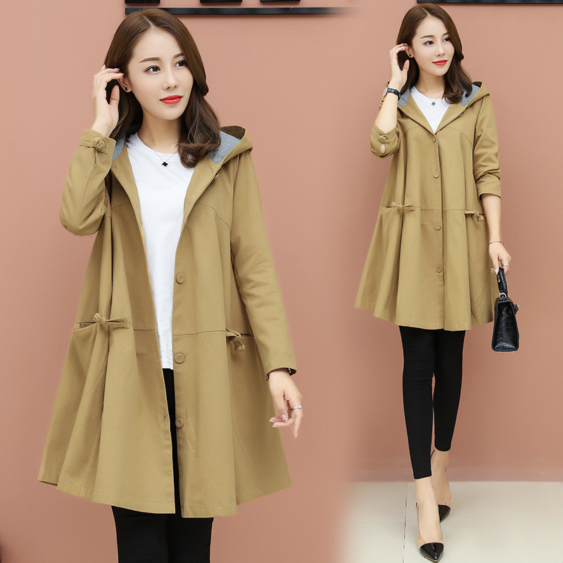 Oversized Women Hooded Trench Coat Korean Spring Autumn Plus Size Long Ladies Coat Loose Outerwear Womens Windbreaker 3XL AA667