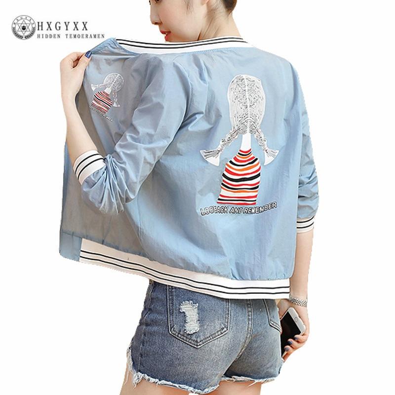 2018 Harajuku Summer Short Women Jacket Female Stripe Basic Coat Transparent Bomber Jackets Outerwear Casaco Feminino Okd012