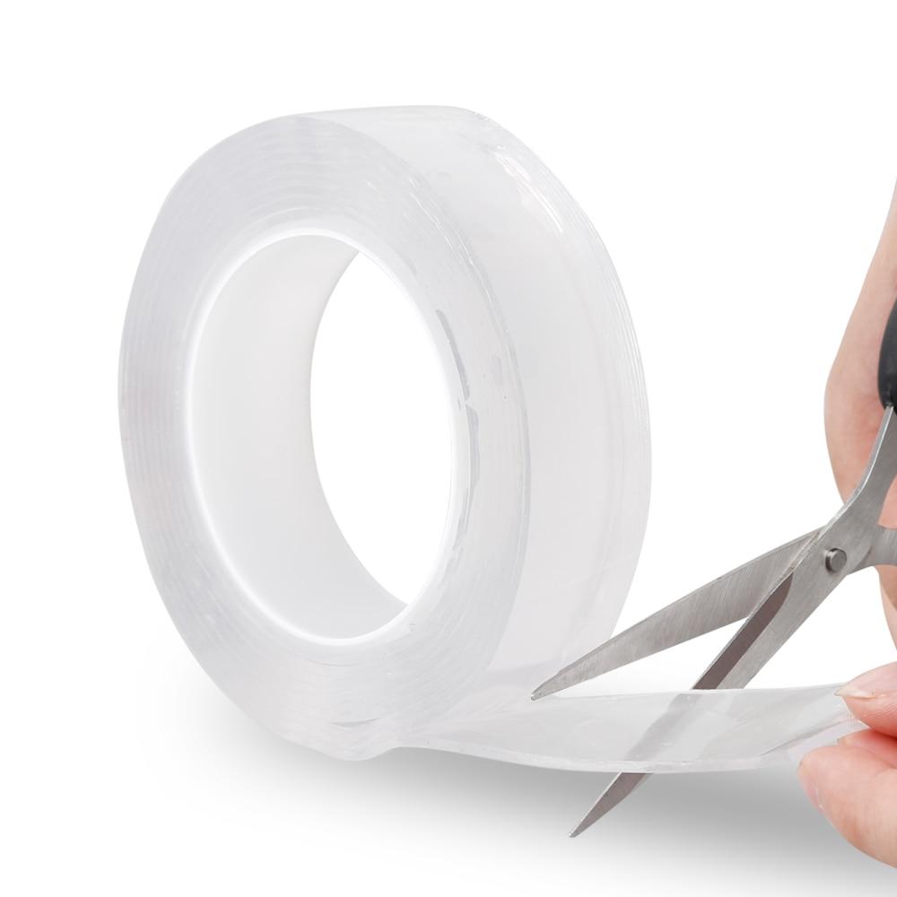 1/2/3/5 м многоразовый двойной клейкая поверхность с двух сторон Nano, Не оставляющий следов надежный дизайн лента Съемная Стикеры моющиеся клей петля диски галстуком-бабочкой клей гаджет - Цвет: As show