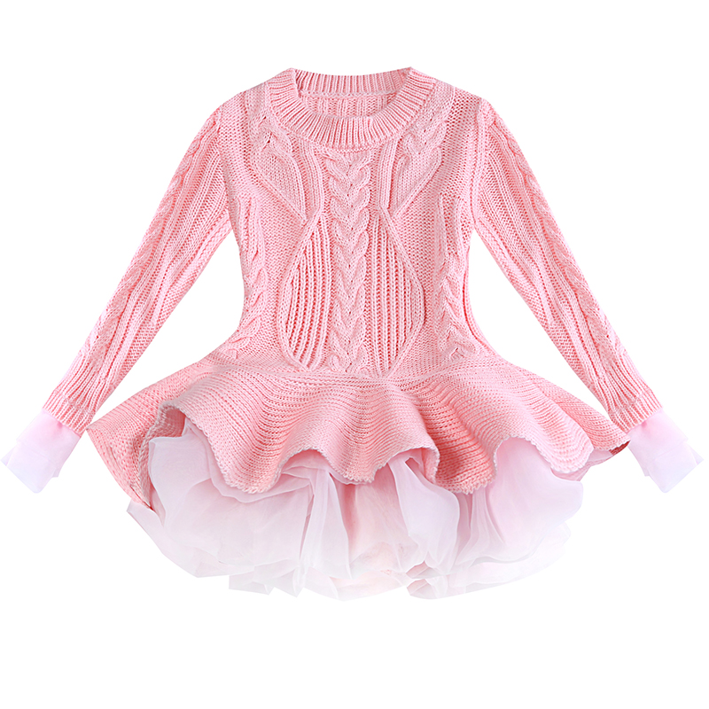 Knitted Autumn winter Girls Dress 2018 Casual Long Sleeves laceMesh Kids Dresses For Girl Clothing Cute Princess Dress Wedding light coffee knitted long sleeves off shoulder midi dress