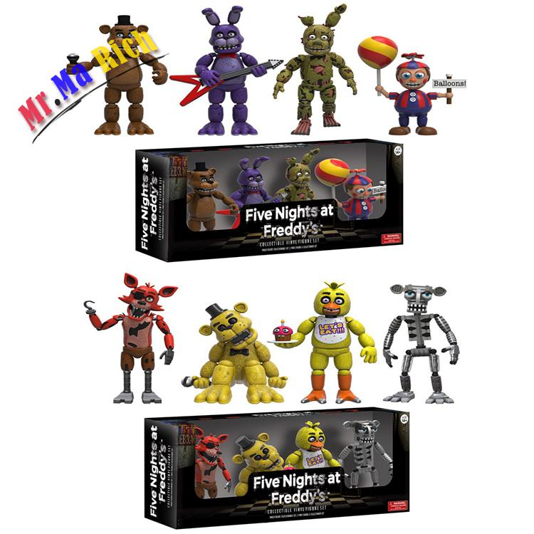 4pcs/lot Pvc Five Nights At Freddy's Action Figure Fnaf Bonnie Foxy Freddy Fazbear Bear Dolls Anime Game Toys New In Box