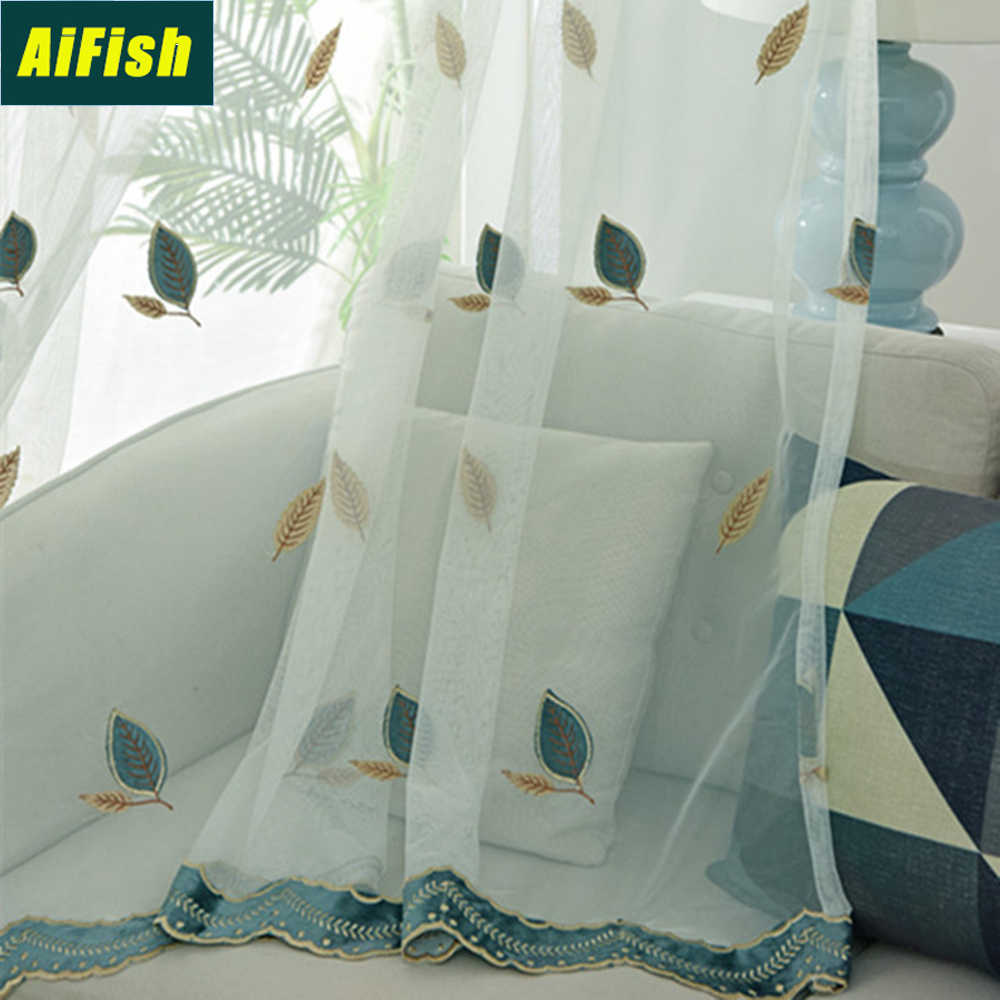 Leaves Embroidered Living Room Curtain Tulle Lace Sheer Curtains for Bedroom Pink Leaf Patterned Voile Curtain Panels TM0093