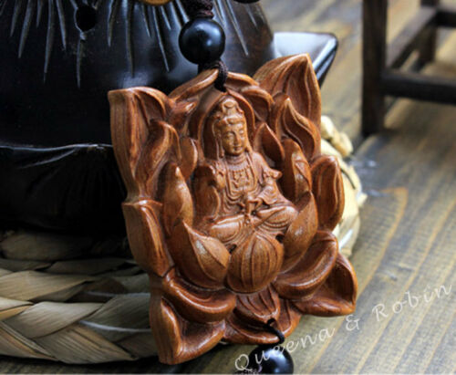 Wood Carving Lotus Guan Kwan Yin Buddha Statue Car Pendant Amulet Wooden Craft