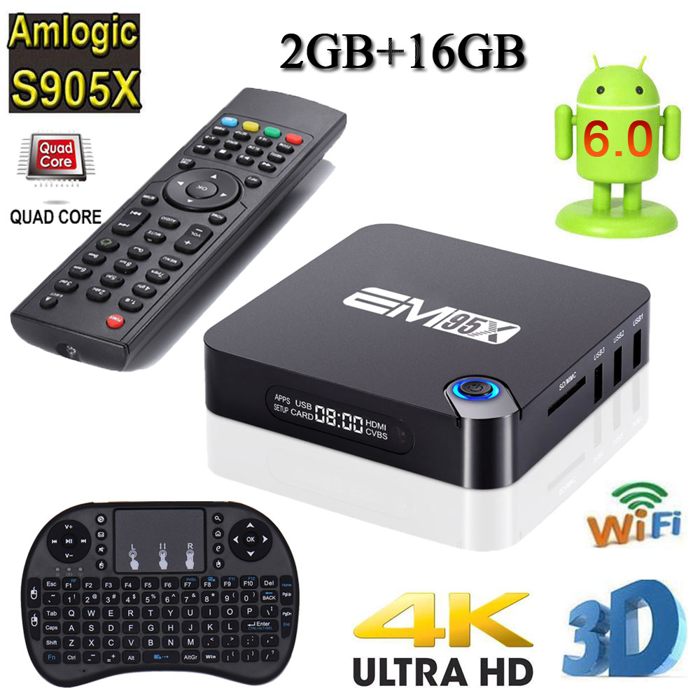 Chycet EM95X 2G/16G Android 6.0 TV Box Amlogic S905X Quad-Core Full loaded WiFi 4K H.265 Streaming Media Players PK X96+Keyboard m8 fully loaded xbmc amlogic s802 android tv box quad core 2g 8g mali450 4k 2 4g 5g dual wifi pre installed apk add ons