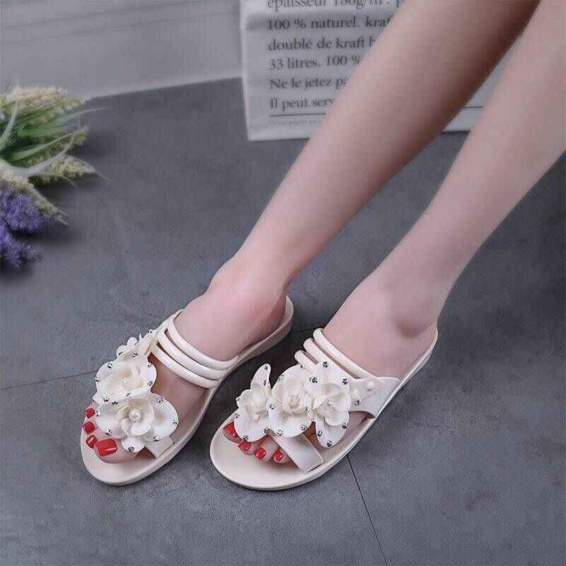 新カジュアル女性サンダル金属花ゼリー靴 Spilt プサンダル速乾性ビーチ美しいかわいいスリッパ靴