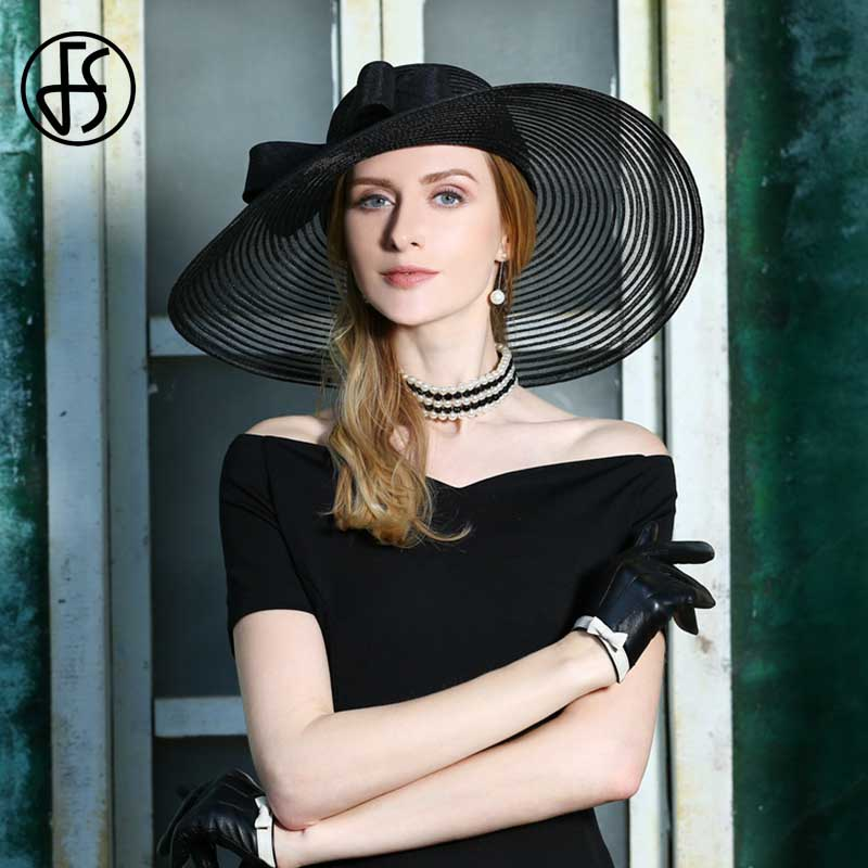 cc462df7 FS 2019 Linen Fedora Hat Black Bowknot Women Big Wide Brim Wedding Hats  Summer White Vintage