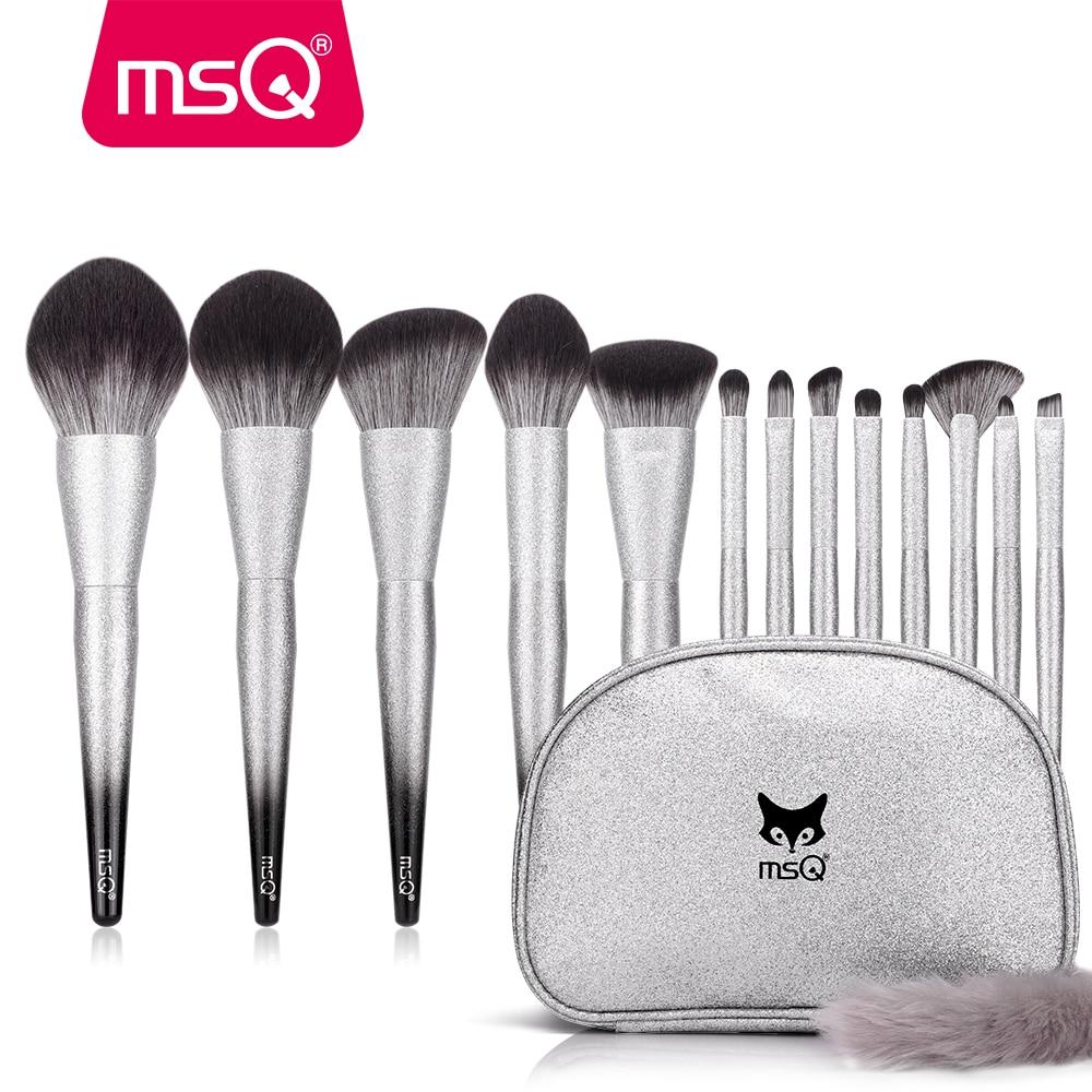 MSQ 13PCS Makeup Brushes Set Powder Foundation Blush Eyeshadow Make Up Brush Sets Bling Gradient Wood