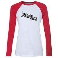 Judas Priest Hard Metal Heavy Rock Band British Print Raglan Long Sleeve T Shirt Women Loose