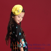 New Designs 2014 Winter Autumn Lovely Girls Pageant Headwear Yellow Flower Girl Wedding Party Hair Accessories