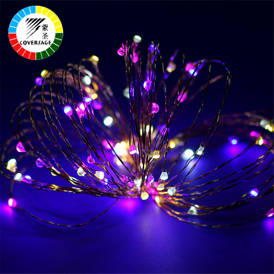 Coversage Kerstboomversiering Xmas Guirlande 10M 100 Leds Batterij String Koperdraad Fairy Curtain Lights Outdoor Indoor