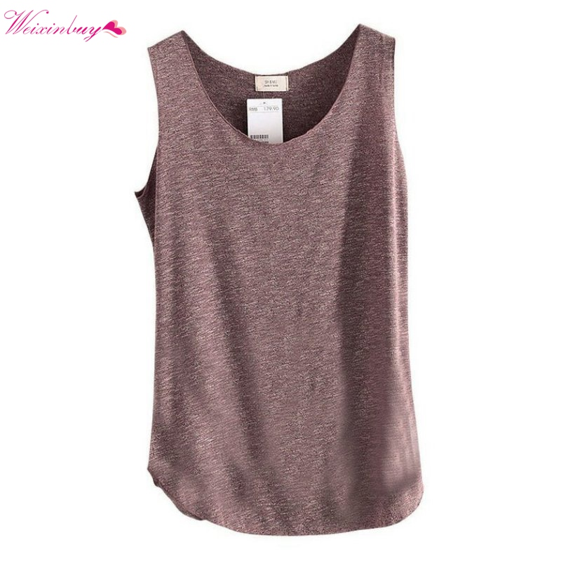 Kvinnor U-Neck Beach Vest Sommar Lösa Bambu Cotton Tank T-shirt Toppar Tee Hot Sale