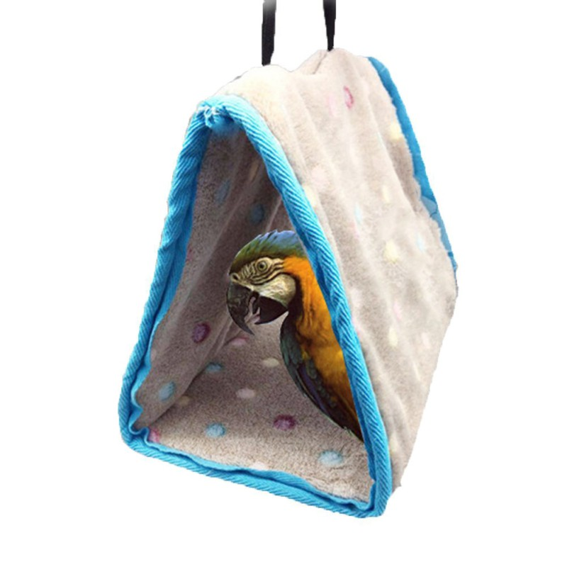 3 Sizes Bird Hanging Cotton Roost Birds Nest Hamster Hammock Triangular Nests Cave Cage Plush Hut Tent Bed Bunk Parrot Toy