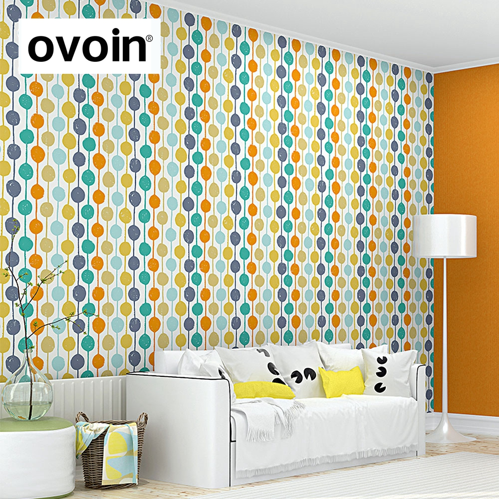 Modern Contemporary Color Circles Striped Wallpaper Creation Polka ...