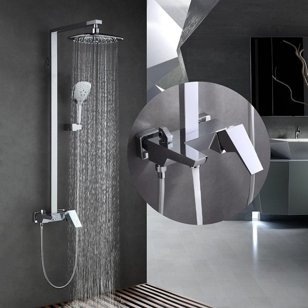 Ensemble de douche carré en laiton chromé mélangeur d'eau froide et chaude à trois fonctions robinet de douche mural robinet de salle de bain douche
