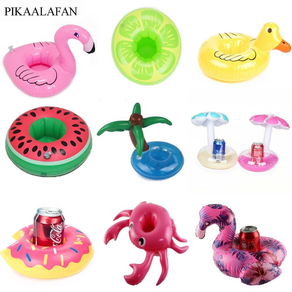 PIKAALAFAN Mini Inflatable Cup Holder Small Flamingo Floating Crab Cute Cartoon Animal Fruits Toy Pool Bathing Party Decoration(China)