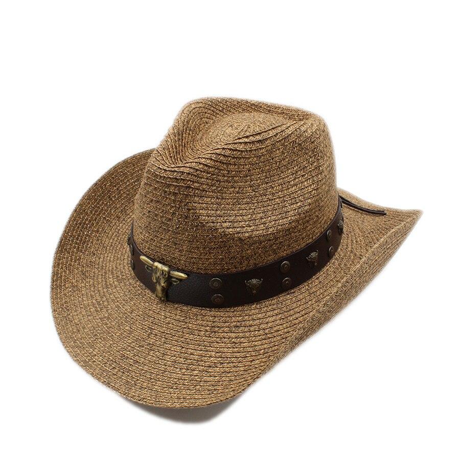 Mujeres Hombres hueco sombrero de vaquero occidental Caballero vaquera Jazz  ecuestre papá reina verano sombrero playa Sol sombrero tauren punky en  Sombreros ... d241874e0cd