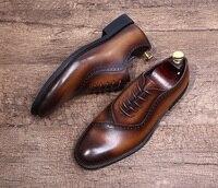 Итальянский резные мужская одежда Туфли оксфорды 2018 весенние мужские свадебные Туфли оксфорды Бизнес офисные формальные Обувь шнурованна