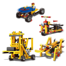 296pcs/set 4 models Power Machinery 4 in 1 Building Blocks toy Electric Motor Car Bricks Science Educational Building Blocks toy
