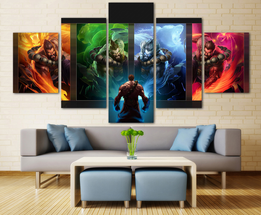 5 Pieces Modern HD Painting League of Legends game Painting Canvas Wall Art Picture Home Decoration Living Room Canvas Art 1