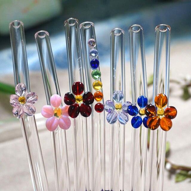 11 PCS Handmade Hoa Thủy Tinh Rơm Uống Thân Thiện Với Môi Hộ Gia Đình Tái Sử Dụng Glass Ống Hút Uốn Cong Cho Smoothies Nước Trái Cây Trà Cà Phê