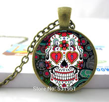 Wholesale Glass Dome Jewelry - Skull Necklace Flower Giant Cutout Sugar Skulls Necklace Pendants Skull Necklace Men/ Women(China)