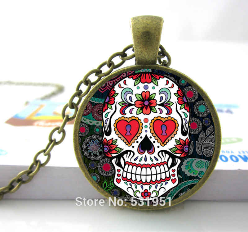 Wholesale Glass Dome Jewelry - Skull Necklace Flower Giant Cutout Sugar Skulls Necklace  Pendants Skull Necklace Men/ Women
