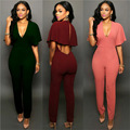 2016 New European and American Women Elegant Jumpsuits Fashion Ladies Slim Sexy Deep V neck Bare Back Solid Color Jumpsuit