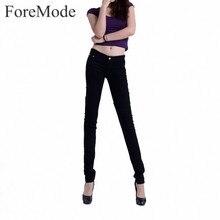 Foremode бутик женщин конфеты цветные джинсы женщина тощий сплошной цвет дымоход карандаш джинсы женские тонкие джинсы 15 цвет