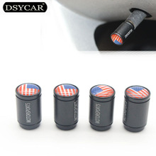DSYCAR 4Pcs/Lot American USA flag Car Bike Moto Wheel Tire Valve Cap Covers Car Styling for Fiat Audi Ford Bmw VW Honda Peugeot