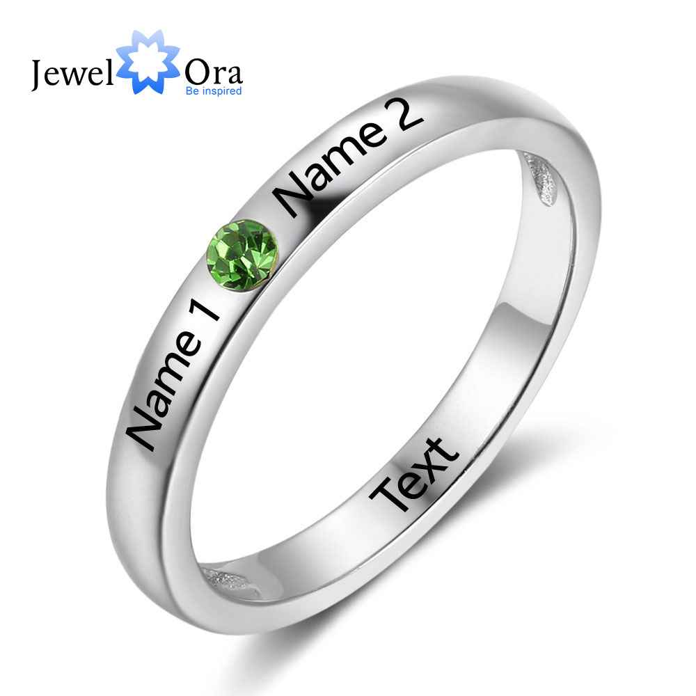 Jewelora Birthstone Ring Engagement-Rings Engrave Name 925-Sterling-Silver Women New