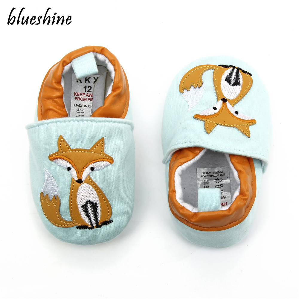 NEW Cotton Cloth First Walker Cartoon Fox Baby Boy Girls Shoes Bebe Toddler Moccasins 0-6 7-12 13-18M Non-slip Soft Bottom Shoes