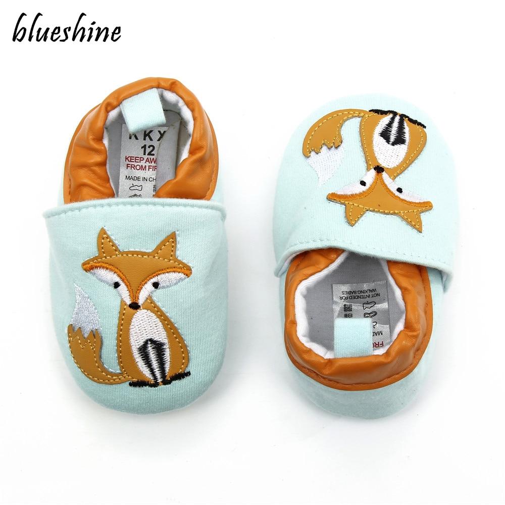 NEW Cotton Cloth First Walker Cartoon Fox Baby Boy Girls Shoes Bebe Toddler Moccasins 0-6 7-12 13-18M Non-slip Soft Bottom Shoes