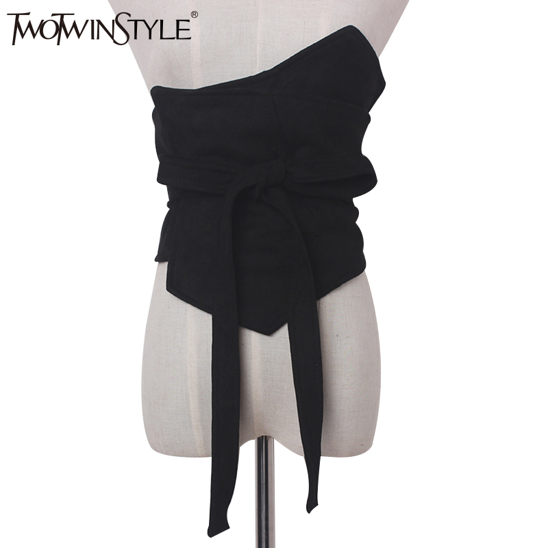 TWOTWINSTYLE Bandage Bow Chain Wide Belts For Women Suede Girdle Asymmetry Black Women's Clothing Accessories Korean Fashion