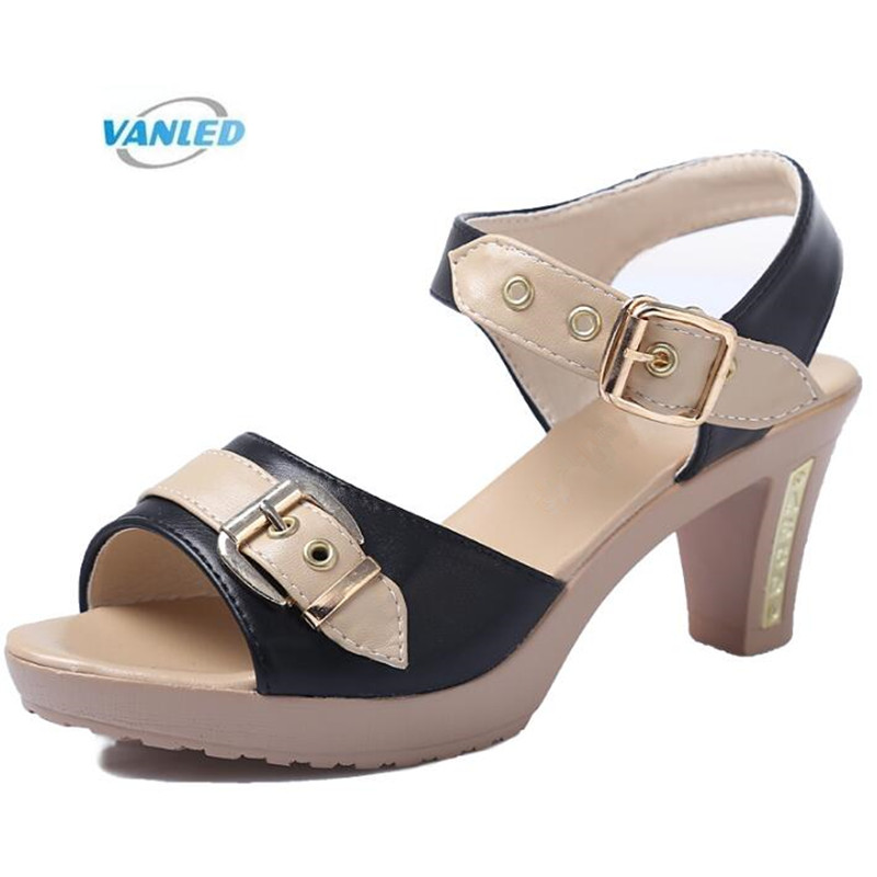 VANLED Brand Sandals Summer Women Shoes Sandals 2018 Plus Size Real Leather Fashion Sandals High Heel Shoes Summer Women Sandals fujin brand 2018 summer shoes for women platform sandals with high heel lady leather shoes footwear pink leather slip on sandals